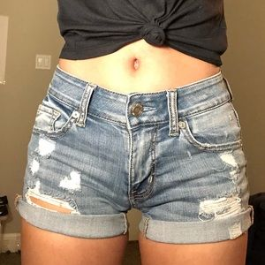 American Eagle Light wash blue ripped jean shorts